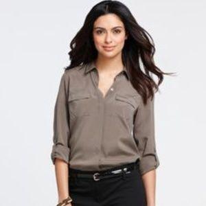 75889b80232e4 Ann Taylor Tops - Ann Taylor Petite Silk Camp Shirt